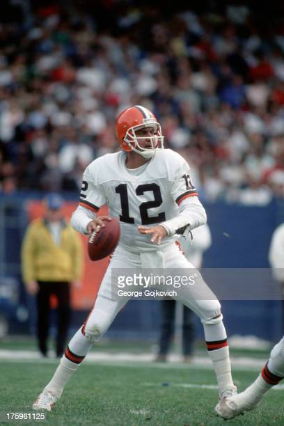 Quarterback Don Strock of the Cleveland Browns passes during a game against the Philadelphia Eagles at Municipal Stadium on October 16 1988 in...