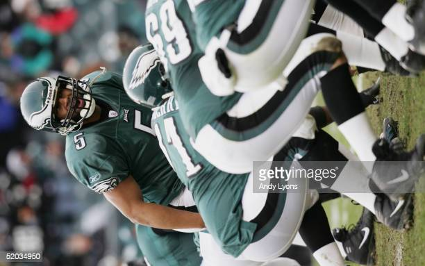 Quarterback Donovan McNabb of the Philadelphia Eagles calls a play at the line of scrimmage against the Minnesota Vikings in an NFC divisional...