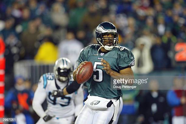 Quarterback Donovan McNabb of the Philadelphia Eagles drops back to pass against the Carolina Panthers during the NFC Championship game at Lincoln...