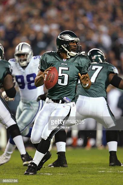 Quarterback Donovan McNabb of the Philadelphia Eagles drops back to pass against the Dallas Cowboys at Lincoln Financial Field on November 14 2005 in...