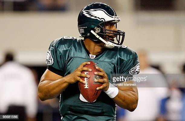 Quarterback Donovan McNabb of the Philadelphia Eagles during the 2010 NFC wildcard playoff game at Cowboys Stadium on January 9 2010 in Arlington...