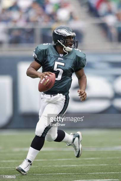 Quarterback Donovan McNabb of the Philadelphia Eagles looks to make the pass during the NFL game against the Indianapolis Colts at Veterans Stadium...