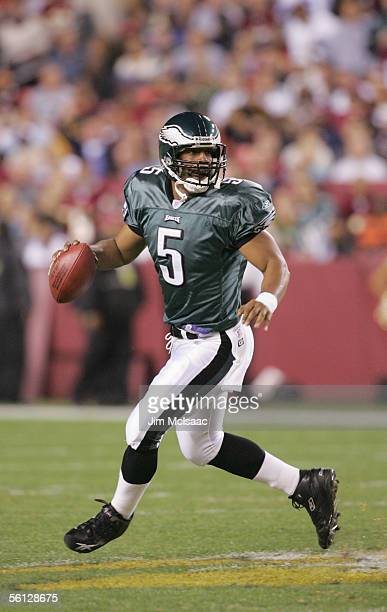 Quarterback Donovan McNabb of the Philadelphia Eagles looks to pass during the game against the Washington Redskins on November 6 2005 at Fed Ex...