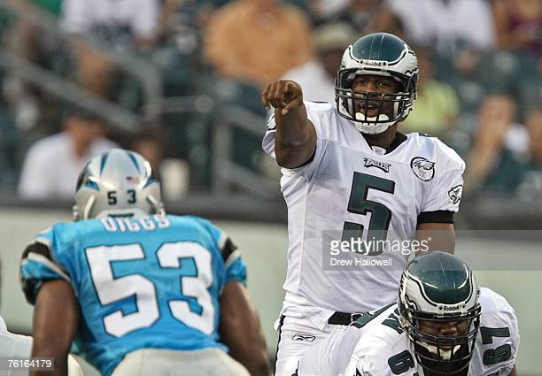 Quarterback Donovan McNabb of the Philadelphia Eagles points to the defense during the game against the Carolina Panthers on August 17, 2007 at...