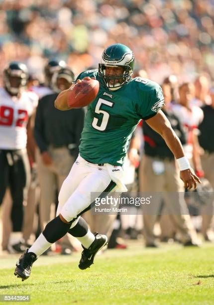 Quarterback Donovan McNabb of the Philadelphia Eagles runs with the ball during a game against the Atlanta Falcons on October 26, 2008 at Lincoln...