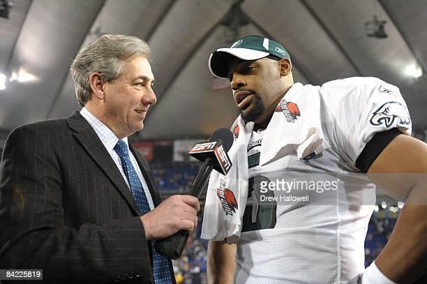 Quarterback Donovan McNabb of the Philadelphia Eagles talks with ESPN's Sal Paolantonio after the game against the Minnesota Vikings on January 4,...