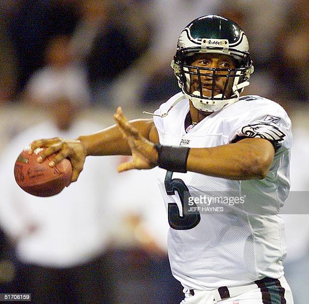 Quarterback Donovan McNabb of the Philadelphia Eagles throws a pass in the second quarter against the St Louis Rams 27 January 2002 during the NFC...