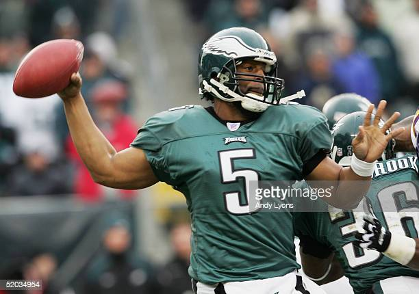Quarterback Donovan McNabb of the Philadelphia Eagles throws a pass against the Minnesota Vikings in an NFC divisional playoff game at Lincoln...