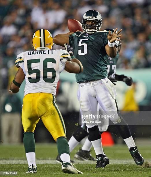 Quarterback Donovan McNabb of the Philadelphia Eagles throws a pass past linebacker Nick Barnett of the Green Bay Packers on October 2, 2006 at...