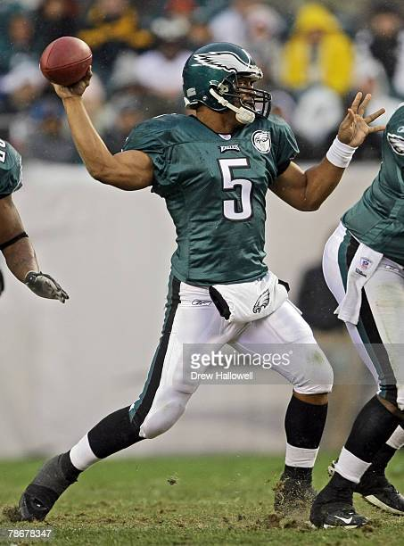 Quarterback Donovan McNabb of the Philadelphia Eagles throws a pass during the game against the Buffalo Bills on December 30, 2007 at Lincoln...