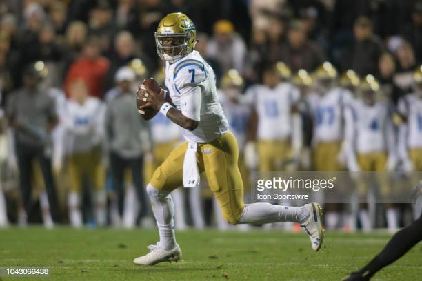 UCLA quarterback Dorian ThompsonRobinson scrambles during the Colorado vs UCLA football game on September 28 2018 at Folsom Field in Boulder CO