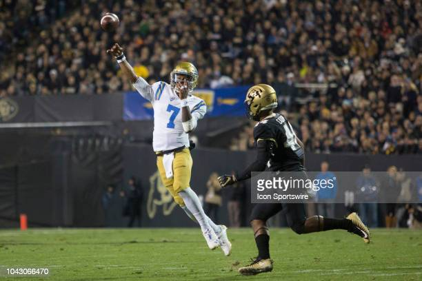 UCLA quarterback Dorian ThompsonRobinson throws on the run during the Colorado vs UCLA football game on September 28 2018 at Folsom Field in Boulder...