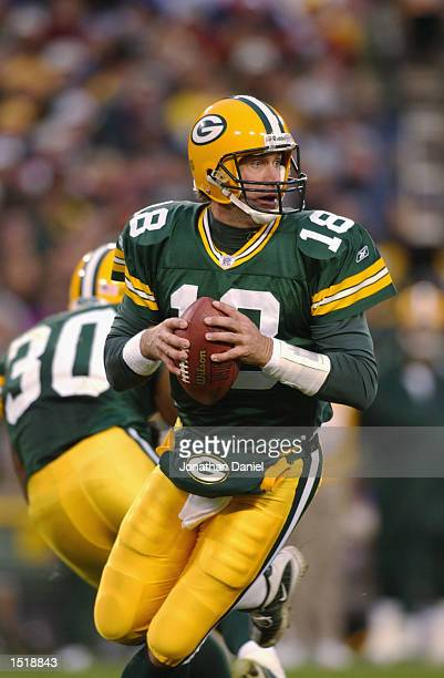 Quarterback Doug Pederson looks for a receiver against the Washington Redskins during the NFL game at Lambeau Field in Green Bay Wisconsin on October...