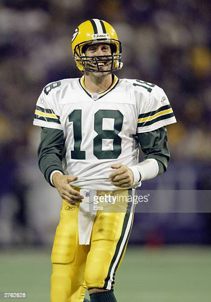 Quarterback Doug Pederson of the Green Bay Packers smiles during the game against the Minnesota Vikings at the Hubert H Humphrey Metrodome on...