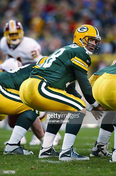 Quarterback Doug Pederson of the Green Bay Packers waits for the snap during the NFL game against the Washington Redskins at Lambeau Field on October...