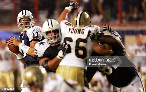 Quarterback Drew Bledsoe of the Dallas Cowboys drops back to pass during a preseason game against the New Orleans Saints on August 21, 2006 at...
