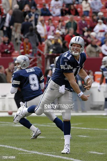 Quarterback Drew Bledsoe , of the Dallas Cowboys, follows through on a pass as fellow quarterback Tony Romo sets up to throw a pass during drills...