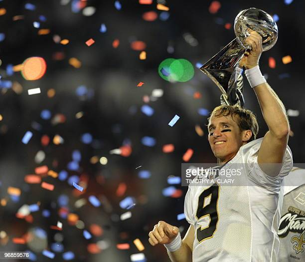 Quarterback Drew Brees of the New Orleans Saints after the Saints defeated the Indianapolis Colts during Super Bowl XLIV on February 7, 2010 at Sun...