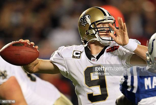 Quarterback Drew Brees of the New Orleans Saints looks to pass against the Indianapolis Colts during Super Bowl XLIV on February 7 2010 at Sun Life...
