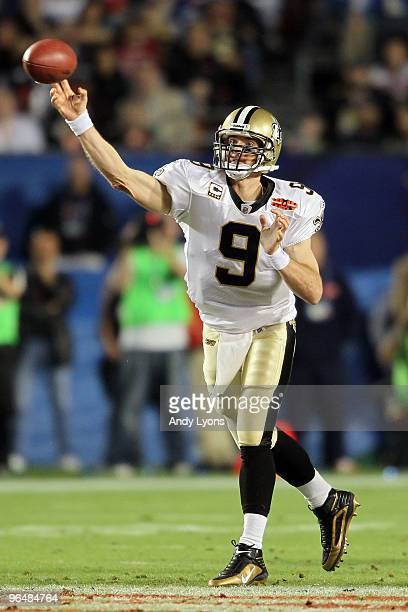 Quarterback Drew Brees of the New Orleans Saints passes against the Indianapolis Colts during Super Bowl XLIV on February 7 2010 at Sun Life Stadium...
