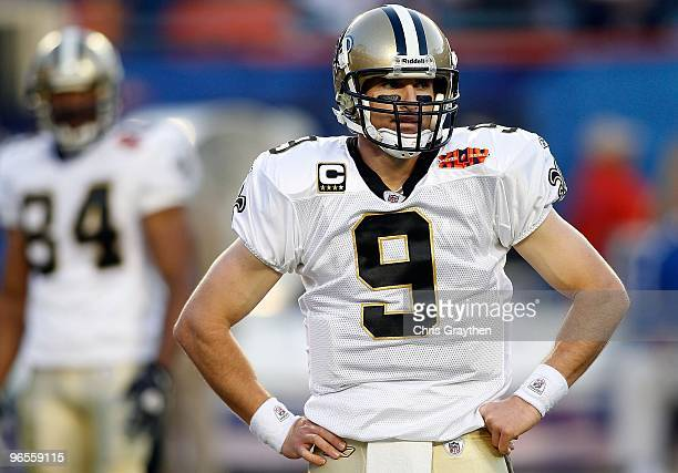 Quarterback Drew Brees of the New Orleans Saints prepares to play in Super Bowl XLIV against the Indianapolis Colts on February 7 2010 at Sun Life...