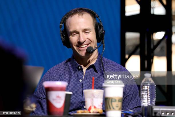 NFL quarterback Drew Brees of the New Orleans Saints speaks onstage during day 3 of SiriusXM at Super Bowl LIV on January 31 2020 in Miami Florida