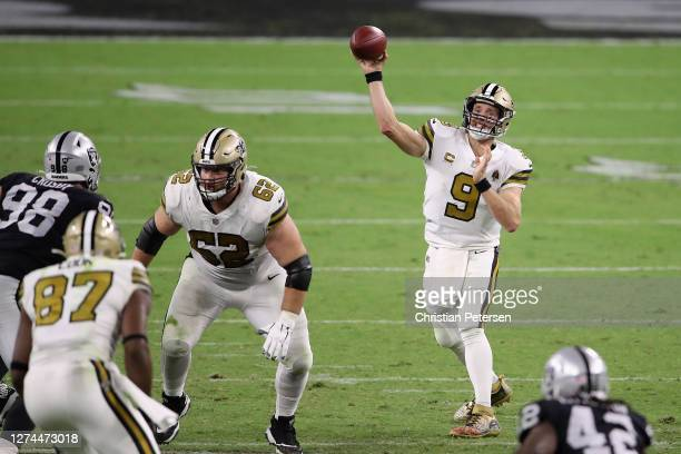 Quarterback Drew Brees of the New Orleans Saints throws a pass during the second half of the NFL game against the Las Vegas Raiders at Allegiant...
