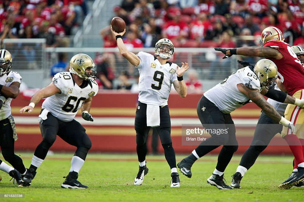 Quarterback Drew Brees #9 of the New Orleans Saints throws against the San Francisco 49ers in the second half on November, 6 2016 at Levi's Stadium in Santa Clara, California. The Saints won 41-23.