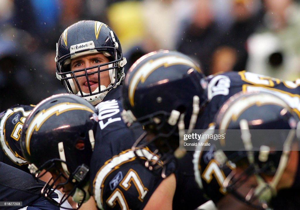 Quarterback Drew Brees #9 of the San Diego Chargers calls an audible at the line of scrimmage against the Denver Broncos during the Charger's 20-17 win over the Broncos during their NFL Game at Qualcomm Stadium on December 5, 2004 in San Diego, California.