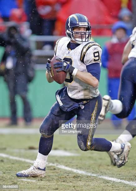 Quarterback Drew Brees of the San Diego Chargers looks to pass the ball downfield in a game against the Kansas City Chiefs on December 24, 2005 at...