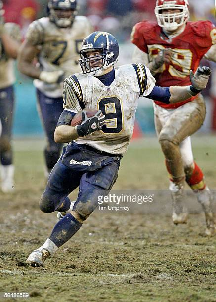 Quarterback Drew Brees of the San Diego Chargers runs the ball downfield in a game against the Kansas City Chiefs on December 24, 2005 at Arrowhead...