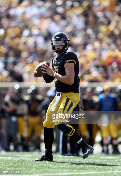 Quarterback Drew Lock of the Missouri Tigers looks to pass during the game against the Tennessee Martin Skyhawks at Faurot Field/Memorial Stadium on...