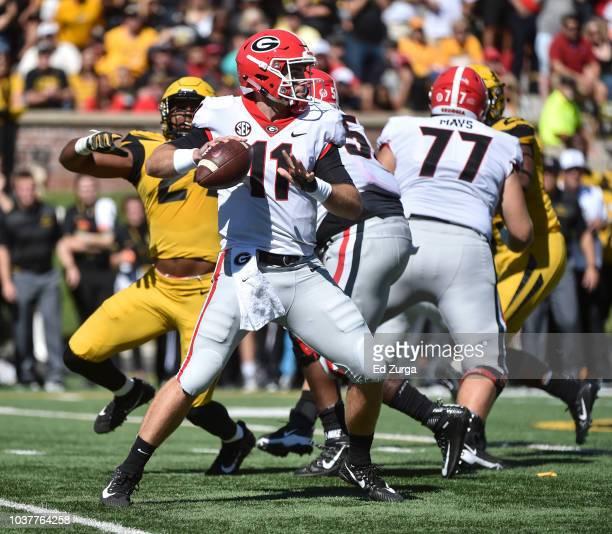 Quarterback Drew Lock of the Missouri Tigers passes against the Georgia Bulldogs in the second quarter at Memorial Stadium on September 22 2018 in...