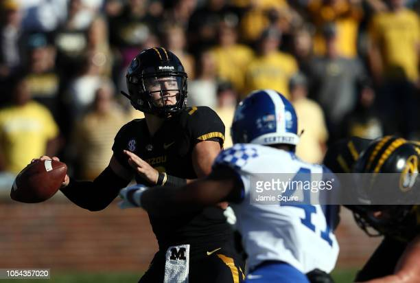 Quarterback Drew Lock of the Missouri Tigers passes during the game against the Kentucky Wildcats at Faurot Field/Memorial Stadium on October 27 2018...