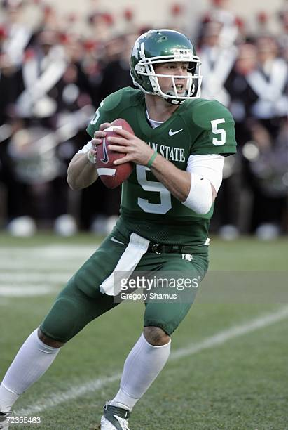 Quarterback Drew Stanton of the Michigan State Spartans looks to pass the ball during the game against the Ohio State Buckeyes on October 14, 2006 at...