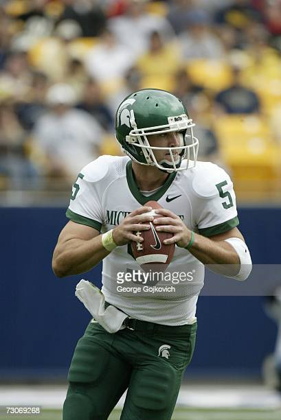 Quarterback Drew Stanton of the Michigan State Spartans looks to pass against the University of Pittsburgh Panthers at Heinz Field on September 16...