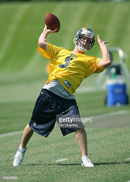 Quarterback Drew Tate of the St. Louis Rams passes down field at the St. Louis Rams Mini-Camp on May 12, 2007 at the St. Louis Rams Training Facility...