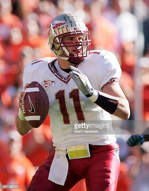 Quarterback Drew Weatherford of the Florida State Seminoles drops back to pass during an Atlantic Coast Conference game on November 12 2005 at...