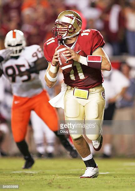 Quarterback Drew Weatherford of the Florida State Seminoles looks for a receiver against the Miami Hurricanes at Doak Campbell Stadium September 5...