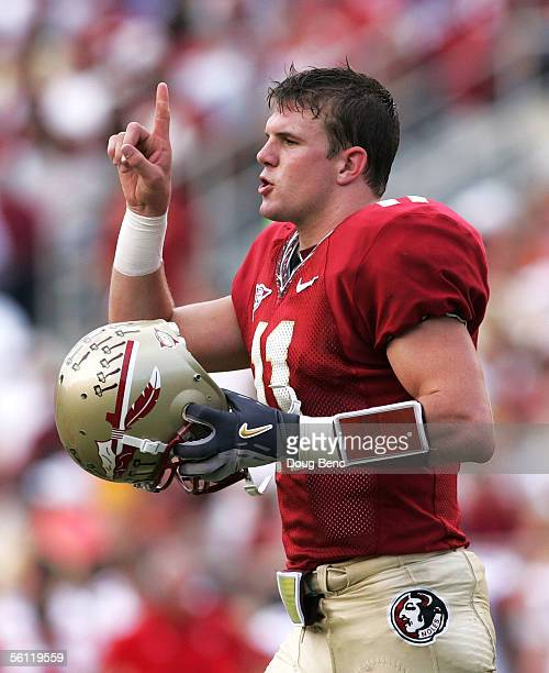 Quarterback Drew Weatherford of the Florida State Seminoles looks to the sideline for a play call against the North Carolina State Wolfpack in the...