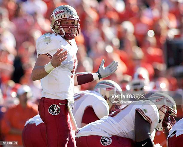 Quarterback Drew Weatherford of the Florida State Seminoles looks to the sidelines for instructions on November 12, 2005 at Clemson Memorial Stadium...