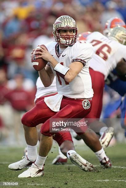 Quarterback Drew Weatherford of the Florida State Seminoles passes against the Florida Gators at Ben Hill Griffin Stadium November 24 2007 in...