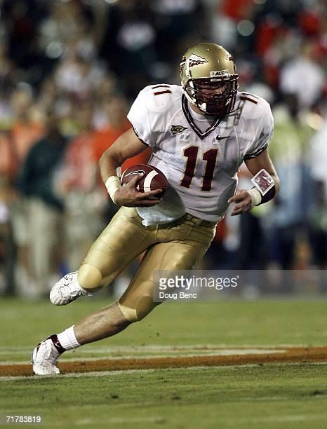 Quarterback Drew Weatherford of the Florida State Seminoles scrambles against the University of Miami Hurricanes at the Orange Bowl Stadium on...