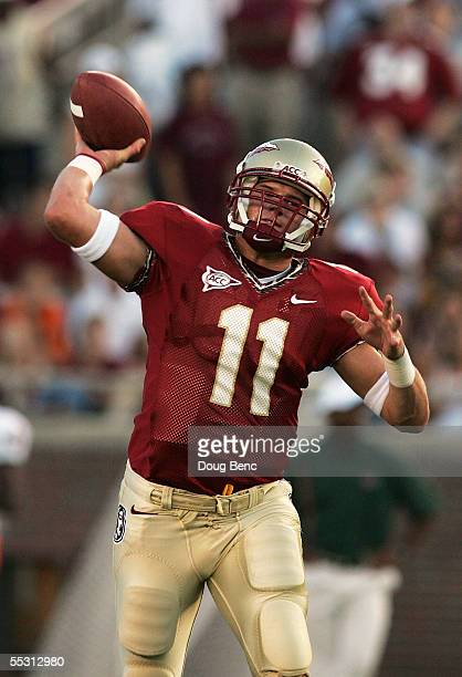 Quarterback Drew Weatherford of the Florida State Seminoles throws a pass during warmups prior to taking on the Miami Hurricanes at Doak Campbell...