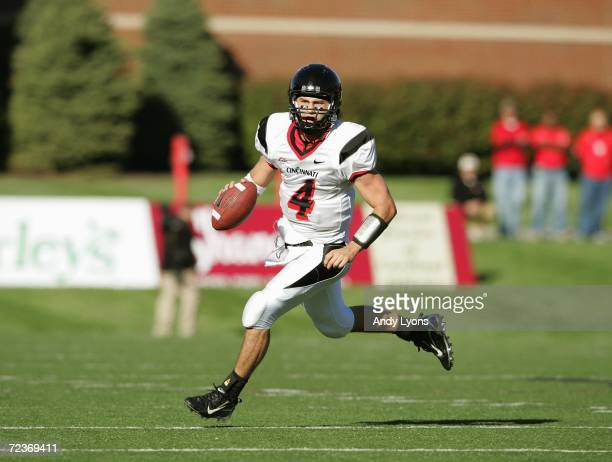 Quarterback Dustin Grutza of the Cincinnati Bearcats runs with the ball during the game against the Louisville Cardinals on October 14 2006 at Papa...