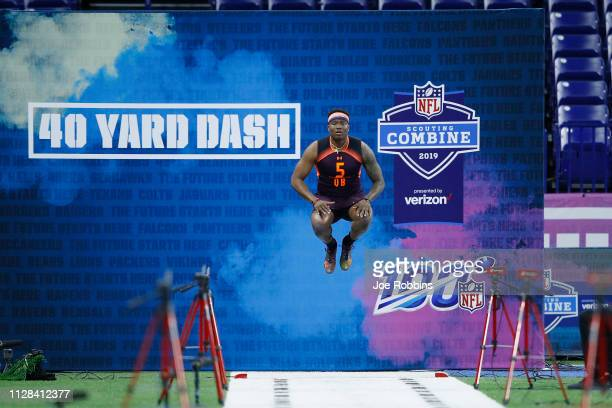 Quarterback Dwayne Haskins of Ohio State gets ready to run the 40-yard dash during day three of the NFL Combine at Lucas Oil Stadium on March 2, 2019...