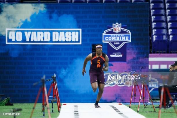 Quarterback Dwayne Haskins of Ohio State runs the 40yard dash during day three of the NFL Combine at Lucas Oil Stadium on March 2 2019 in...
