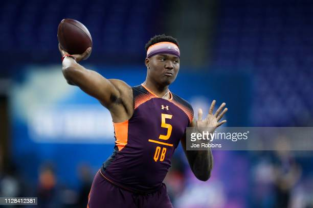 Quarterback Dwayne Haskins of Ohio State works out during day three of the NFL Combine at Lucas Oil Stadium on March 2 2019 in Indianapolis Indiana