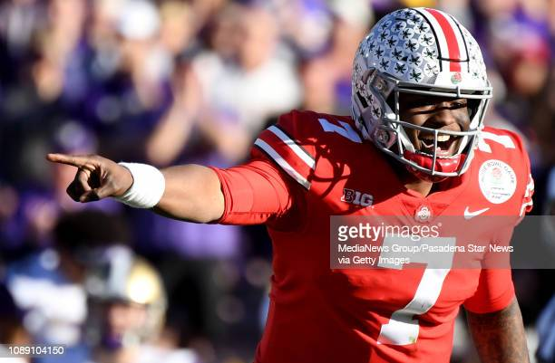 Quarterback Dwayne Haskins of the Ohio State Buckeyes calls a play in the first half against the Washington Huskies during the 105th Rose Bowl Game...