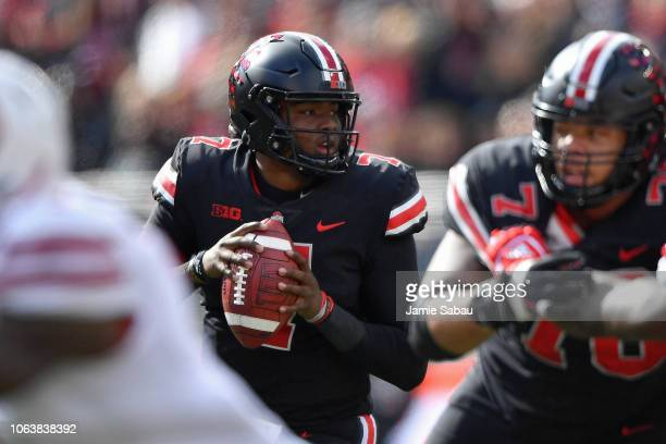 Quarterback Dwayne Haskins of the Ohio State Buckeyes passes against the Nebraska Cornhuskers at Ohio Stadium on November 3 2018 in Columbus Ohio